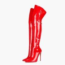 Arden Furtado 2020 Fashion Women's Shoes  Stilettos Heels Elegant Women's Boots black zipper over the knee thigh high Boots 44 45