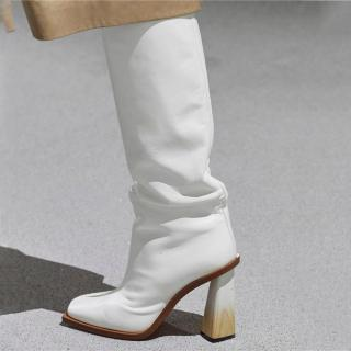 Arden Furtado Fashion Women's Shoes Elegant Women's Boots Slip-on strange style pleated white nude Knee High Boots big size