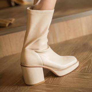 Arden Furtado 2020 autumn Fashion Women's Shoes chunky Heels Elegant platform Women's Boots black zipper mid calf Boots 41 42 43