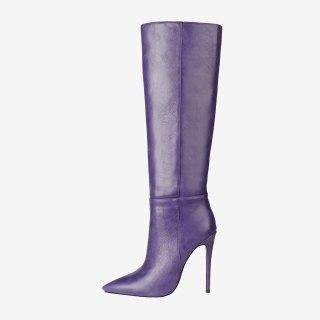 Arden Furtado autumn Fashion Women's Shoes Elegant stilettos heels Knee High Boots big size burgundy purple blue boots 43