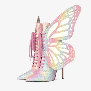 Arden Furtado 2020 Fashion Women's Shoes Elegant Women's zipper stilettos heels ankle Boots gliter cross tied wings boots 42 43