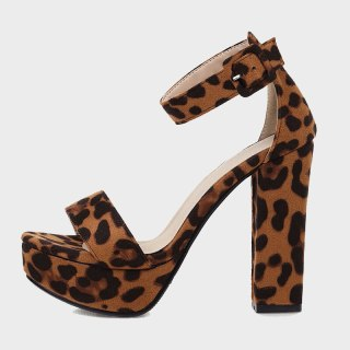 Arden Furtado summer fashion women's shoes sexy Leopard Print elegant buckle sandals Chunky Heels Waterproof size 32 43 new