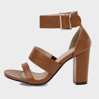 Arden Furtado summer fashion women's shoes sexy brown elegant buckle sandals Chunky Heels Waterproof size 32 45 new