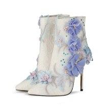 Arden Furtado Fashion Women's Shoes Elegant Women's zipper stilettos heels ankle Boots flowers wedding shoes Lace boots