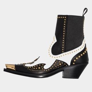 Arden Furtado autumn Fashion Women's Shoes Mature sexy Rivet chunky heels Elegant square toe ankle Boots large size 44 45