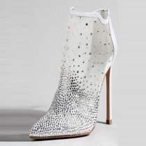 Arden Furtado Fashion Women's Shoes Elegant Women's zipper stilettos heels ankle Boots crystal wedding shoes Lace boots 45