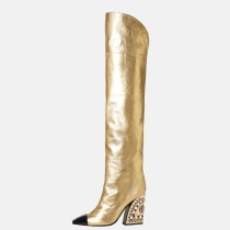 Arden Furtado 2020 Fashion Women's Shoes chunky Heels Elegant Women's Boots black zipper over the knee thigh high Boots 44 45