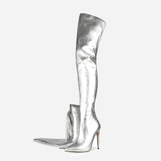 Arden Furtado autumn Fashion Women's Shoes Over The Knee High Boots Elegant back zipper thigh high boots sexy silver  boots