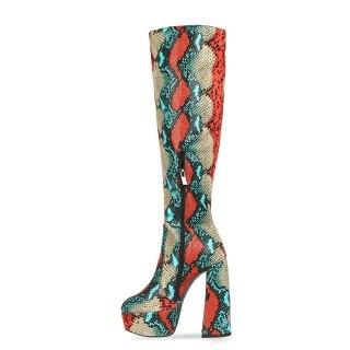 2021 autumn winter zipper party shoes Serpentine Knee High Boots platform boots sexy elegant mature chunky heels boots44 45