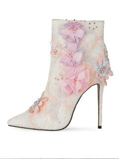 Arden Furtado Fashion Women's Shoes Winter Pointed Toe sexy new Zipper Flower Stilettos Heels Matur ankle boots big size 45