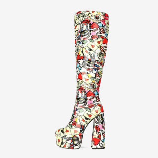 2021 autumn winter zipper party shoes Knee High Boots Mixed Colors  platform boots sexy elegant mature chunky heels boots 44 45
