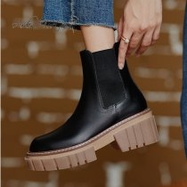 Arden Furtado 2021 Spring and Autumn fashion boots pure color Round Toe Concise Slip-on Comfortable Elegant ankle boots