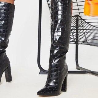 Arden Furtado 2021 fashion winter Pointed Toe black Slip on Slip on Chunky Heels Knee High Boots