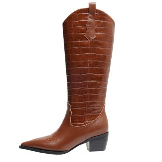 Arden Furtado winter fashion 2021 Pointed toe chunky heels Women's boots Slip-on Brown Knee high boots
