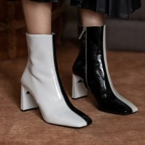 Arden Furtado 2021 Spring and Autumn fashion boots Square Head Mixed Colors Elegant Zipper Block heels Big size ankle boots 40
