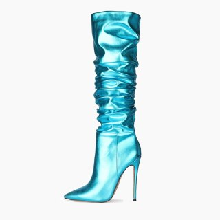 Arden Furtado 2020 Fashion Women's Shoes Pointed Toe Stilettos sexy Heels Elegant Women's Boots pleated thigh High Boots 43 45