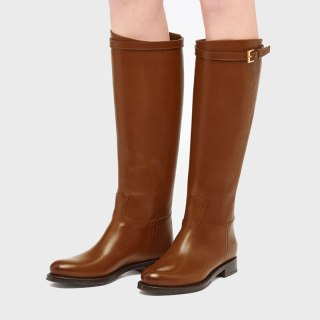 Arden Furtado fashion contracted With low Buckle Slip on Women's boots Black Motercycle boots  brown Knee high boots