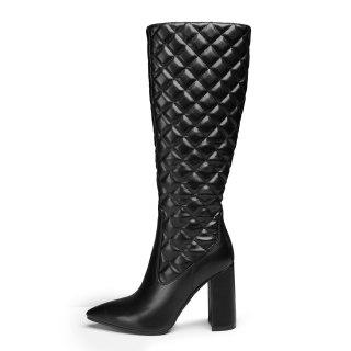 Arden Furtado 2020 Fashion Women's Shoes Pointed Toe  sexy White Block heels Zipper Elegant Women's Boots thigh High Boots 43 45