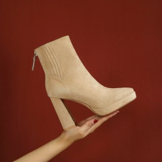 Arden Furtado Autumn winter Elegant fashion Round head Coarse with high heels After the zipper Women's boots Nude Short boots