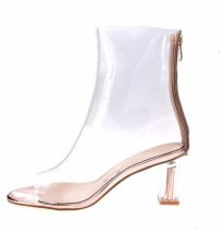 Celebrity Black See Through PVC Short Women ankle Boots Plastic Clear Boots Point Toe Block Heels Clear High Heels Top Quality