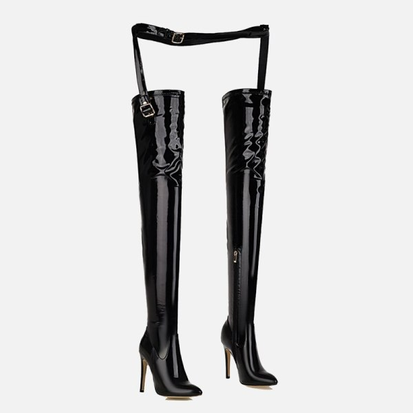 Arden Furtado 2021 Fashion Pointed toe Stiletto heels zipper boots Female boots red Over the knee boots Stretch Pants boots 45