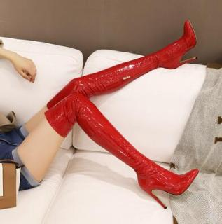 Arden Furtado winter fashion pointed toe Stilettos heels Side zipper Women's boots red apricot black PU Over the knee stretch boots