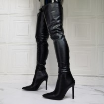 Arden Furtado Winter  fashion pointed toe After the zipper Women's boots sexy Stilettos heels over the knee boots  46 47 new