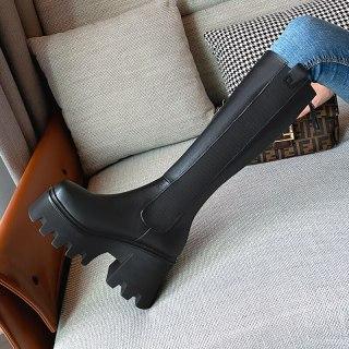 Arden Furtado Autumn and winter Fashion Square head zipper Women's boots black Platform wedges heels round toe Knee high boots