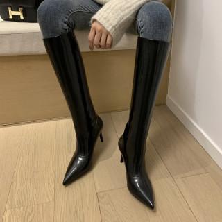 Arden Furtado 2021 winter fashion boots  Elegant  Stilettos Heels beige Slip on Elegant Knee High Boots Big size 40