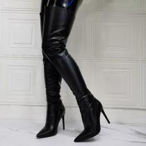 Arden Furtado winter fashion pointed toe Stilettos heels Stilettos heels sexy Side zipper black Over the knee boots   46  47 new