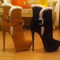 Arden Furtado  Winter Elegant fashion Round head Stilettos heels buckles Women's boots brown black Short boots