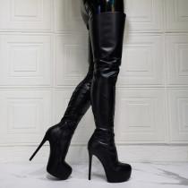 Arden Furtado Winter fashion Waterproof Taiwan Round toe Stilettos heels Stilettos heels sexy Side zipper black Over the knee boots   46  47 new