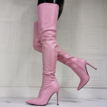 Arden Furtado Winter  fashion pointed toe Side zipperr Women's boots sexy pink Stilettos heels over the knee boots  46 47 new