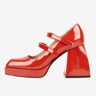 Arden Furtado Summer Fashion Women's Shoes Buckle Strap Square Toe Red Chunky Heels Sexy Elegant Pumps Party Shoes Size 42 43