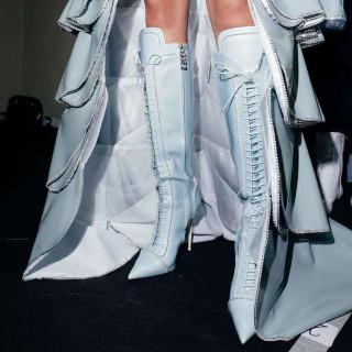 Arden Furtado Fashion Women's Shoes Winter Pointed Toe blue Stilettos Heels Zipper Elegant Concise Mature Knee High Boots