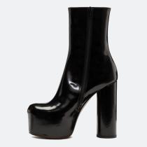 Arden Furtado spring autumn chunky heels 11CM burgundy boots party shoes ladies round toe platform half boots