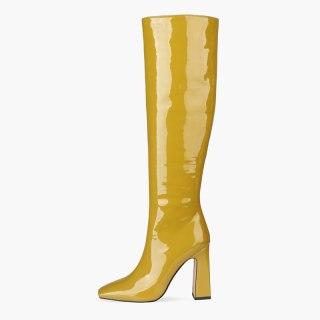 Arden Furtado 2021 Fashion Winter Chunky Heels Pure Color Square Head Knee High Boots Classics Chunky Heels Big size 44 45