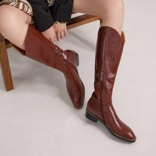 Arden Furtado 2021 Fashion spring autumn Women's Shoes Zipper Elegant Women's Boots  Knee High Boots genuine leather Big size 40