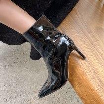 Arden Furtado 2021Fashion Winter Women's Shoes Elegant Nude Women's Boots Stilettos Heels Slip-on genuine leather Short Boots 40