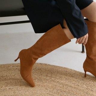Arden Furtado 2021 Fashion spring autumn Women's Shoes Elegant Women's Boots Slip-on cone heels genuine leather Knee High Boots