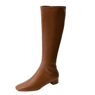 Arden Furtado 2021 FashionWinter Women's Shoes Zipper Women's Boots  Square Head Knee High Boots Genuine Leather Big size 40