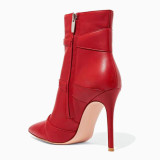 Arden Furtado 2021 Winter and Autumn fashion buckles Side zipper pointed toe boots sexy Stilettos heels red Elegant ankle boots 47