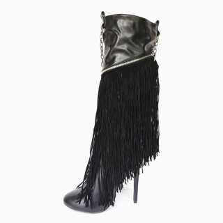 Arden Furtado 2021 Winter and Autumn personality fashion The chain tassel pointed toe boots sexy Stilettos heels black ankle boots 47