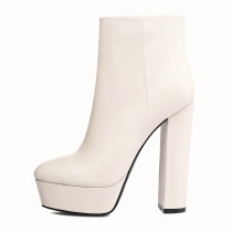 Arden Furtado Fashion Women's Shoes Winter Platform Pointed Toe Chunky Heels Zipper pure color Elegant Ladies Boots Short Boots