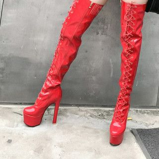Arden Furtado Fashion Women's Shoes Winter Sexy Red Elegant Zipper Cross tied Round Toe platform Over The Knee thigh High Boots