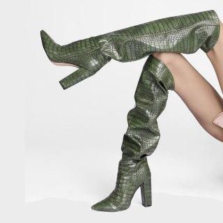 Arden Furtado 2021 Fashion Winter Chunky Heels 11cm Brown Pointed Toe green Knee High Boots Classics grey booties Big size 45 46