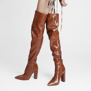 Arden Furtado 2021 Fashion Winter Chunky Heels Pure Color Brown Pointed Toe Classics Over The Knee High Boots Big size 46 47