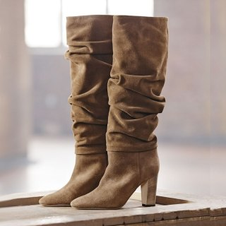 Arden Furtado 2021 Fashion Winter chunky Heels Pointed Toe nude Knee High Boots pleated booties Big size ladies boots size 45