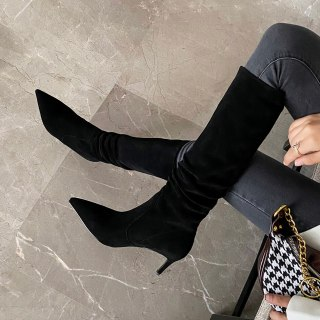 Arden Furtado 2021 Fashion Winter stilettos Heels Pointed Toe nude Knee High Boots nude booties Big size ladies boots size 33 40