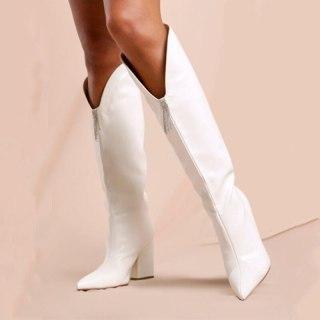 Arden Furtado 2021 Fashion Winter Chunky Heels Pure Color White Slip-on fashion Knee High Boots Classics Chunky Heels Big size